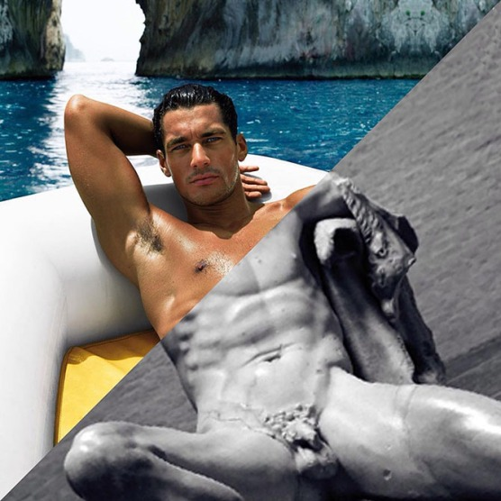 David Gandy, Dolce & Gabbana Light Blue Ad, 2007 vs. Fauno Barberini, Glyptothek, 220 A.C.